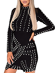 cheap -Women's Party Daily Elegant Slim Bodycon Sheath Dress Sequins Beaded Turtleneck Black M L XL