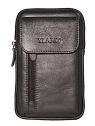 cheap -Men's Zipper Nappa Leather Mobile Phone Bag Solid Color Brown / Black / Fall & Winter