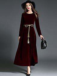 abordables -Rétro Vintage Années 30 Taille de guêpe Robe Femme Velours Costume Noir / Rouge Vintage Cosplay Retour Manches Longues Long