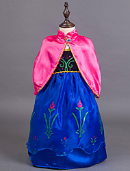 cheap -Princess Fairytale Anna Dress Cloak Flower Girl Dress Kid's Girls' A-Line Slip Dresses Cover Up Birthday Christmas Halloween Masquerade Festival / Holiday Silk / Cotton Blend Blue Carnival Costumes
