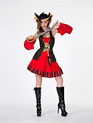 cheap -Pirate Women's Adults' Highschool Halloween Christmas Christmas Halloween Carnival Festival / Holiday Polyster Outfits Red+Black Solid Colored Christmas