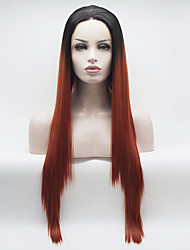 cheap -Synthetic Lace Front Wig Curly Middle Part Lace Front Wig Ombre Long Black / Red Synthetic Hair 18-26 inch Women's Adjustable Heat Resistant Elastic Ombre