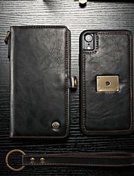 Недорогие -Кейс для Назначение Apple iPhone XR Кошелек / Бумажник для карт / Флип Чехол Однотонный Твердый Кожа PU