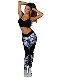 cheap -Women's Patchwork Yoga Pants Camo / Camouflage Zumba Running Gym Workout Tights Bottoms Activewear Breathable Butt Lift Tummy Control Micro-elastic Skinny