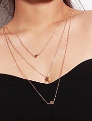cheap -Women's Layered Necklace Long Necklace Classic Dangling Sweet Boho Copper Alloy Gold 72 cm Necklace Jewelry 1pc For Daily Bar