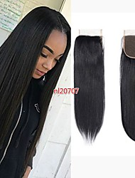 cheap -Brazilian Hair 4x4 Closure / Free Part Straight Free Part Swiss Lace Remy Human Hair Women's Party / Classic / Natural Wedding Party / Baby Shower / Holiday / Black