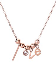 cheap -Women's AAA Cubic Zirconia Bead Necklace Classic Ladies Simple Dangling Hippie Stainless Steel Titanium Steel Rose Gold 46 cm Necklace Jewelry 1pc For Evening Party Valentine