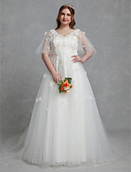 cheap -A-Line Wedding Dresses V Neck Court Train Lace Tulle Half Sleeve Romantic Boho Illusion Detail Plus Size with Lace Insert 2020