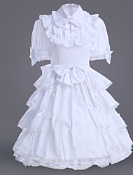 cheap -Classic Lolita Lolita Dress Women's Girls' Cotton Japanese Cosplay Costumes Plus Size Customized White Ball Gown Solid Colored Short Sleeve Medium Length / Classic Lolita Dress