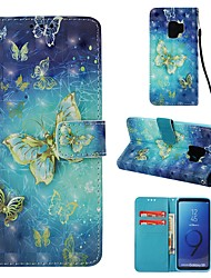 cheap -Case For Samsung Galaxy S9 Wallet / Card Holder / Flip Full Body Cases Butterfly Hard PU Leather