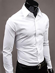 cheap -Men's Shirt Solid Colored Long Sleeve Daily Tops Business Basic White Black Blue