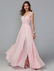 cheap -A-Line Illusion Neck Floor Length Chiffon / Lace Bridesmaid Dress with Lace / Sash / Ribbon / Split Front