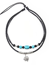 cheap -Men's Blue Onyx Pendant Necklace Vintage Necklace Beads Artistic Simple Vintage Leather Alloy Black 45 cm Necklace Jewelry 1pc For Gift Going out