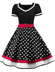 abordables -Audrey Hepburn Points Polka Rétro Vintage Années 50 Eté Robe Femme Costume Noir / Rouge Vintage Cosplay Manches Courtes Mi-long