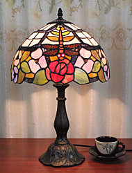 cheap -12 Inch Desk Light Dragonfly Rose Artistic Tiffany Ambient Lamps Decorative Lovely Table Lamp For Indoor Bedroom Resin 110-120V 220-240V 40W*1 Bulb Not Included