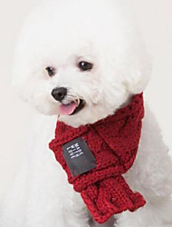 Недорогие -Собаки Коты Шарф для собаки Зима Одежда для собак Зеленый Красный Костюм Акриловые волокна Однотонный Мода S L