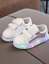 cheap -Girls' LED / Comfort / LED Shoes PU Sneakers Toddler(9m-4ys) / Little Kids(4-7ys) Magic Tape Black / Silver / Pink Fall & Winter / Rubber