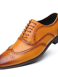 cheap -Men's Business / Baroque Wedding Party & Evening Oxfords Walking Shoes Leather Height-increasing Light Brown / Dark Brown / Black