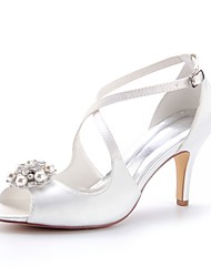 cheap -Women's Satin Spring & Summer Wedding Shoes Stiletto Heel Peep Toe Crystal / Pearl Ivory / Party & Evening