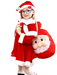 cheap -Cosplay Costume Santa Clothes Kid's Girls' Christmas Christmas Carnival Children's Day Festival / Holiday Pleuche Red Carnival Costumes Holiday