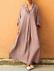 cheap -Women's Plus Size Daily Elegant Maxi Loose Oversized Abaya Dress - Solid Colored Shirt Collar Black Pink Gray XXXL XXXXL XXXXXL