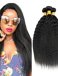 cheap -3 Bundles Brazilian Hair kinky Straight Yaki Straight Human Hair Natural Color Hair Weaves / Hair Bulk Hair Care Hair Accessory 8-28 inch Natural Color Human Hair Weaves Silky Smooth Extention Human