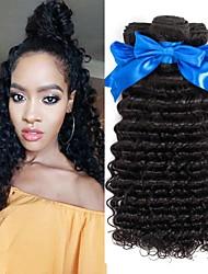 cheap -4 Bundles Deep Wave Virgin Human Hair Human Hair Natural Color Hair Weaves / Hair Bulk Hair Care Extension 8-28 inch Natural Color Human Hair Weaves Smooth Easy dressing Sexy Lady Human Hair