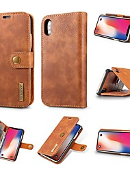 cheap -Case For Apple iPhone XS / iPhone XR / iPhone XS Max Card Holder / Shockproof / with Stand Full Body Cases Solid Colored Hard Genuine Leather