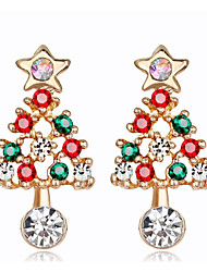 cheap -Women's Cubic Zirconia Hoop Earrings Classic Christmas Tree Ladies Fashion Earrings Jewelry Gold / Silver For Christmas Party / Evening 1 Pair