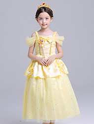 cheap -Belle Cosplay Costume Flower Girl Dress Kid's Girls' A-Line Slip Active Halloween Christmas Halloween Carnival Festival / Holiday Silk Organza Yellow Carnival Costumes Bowknot / Cotton