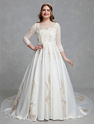 cheap -A-Line Wedding Dresses Scoop Neck Court Train Lace Satin Long Sleeve Romantic Glamorous See-Through Illusion Sleeve with Lace 2020