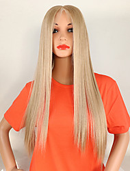 cheap -Synthetic Lace Front Wig Straight Middle Part Lace Front Wig Blonde Long Light golden Synthetic Hair Kanekalon 18-26 inch Women's Adjustable Lace Heat Resistant Blonde