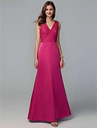 cheap -A-Line V Neck Floor Length Lace / Taffeta Bridesmaid Dress with Lace