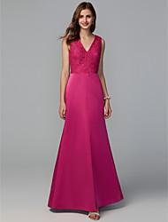 cheap -A-Line V Neck Floor Length Lace / Taffeta Bridesmaid Dress with Lace