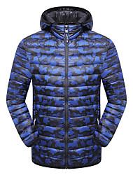 cheap -Men's Padded Hiking jacket Winter Outdoor Camo Windproof Breathable Rain Waterproof Softness Down Jacket Top Single Slider Camping / Hiking Hunting Casual Black / Royal Blue / Grey / Dark Blue