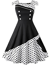 cheap -Audrey Hepburn Polka Dots Retro Vintage 1950s Summer Dress Women's Spandex Costume Black / White / Ink Blue Vintage Cosplay Sleeveless Knee Length