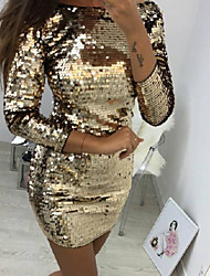 cheap -Women's Party Birthday Basic Mini Slim Sheath Dress - Solid Colored Sequins Spring Gold M L XL / Sexy