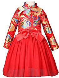 cheap -Kids Toddler Girls' Active Sweet Party Holiday Tribal Bow Mesh Print Long Sleeve Knee-length Dress Red / Cotton