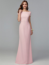 cheap -Sheath / Column Scoop Neck Floor Length Jersey Bridesmaid Dress with Draping / Criss Cross / Open Back