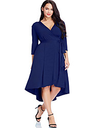 cheap -Women's Plus Size Asymmetrical Sheath Dress - 3/4 Length Sleeve Solid Colored Deep V Elegant Daily Black Blue L XL XXL XXXL XXXXL XXXXXL / Super Sexy