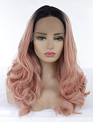 cheap -Synthetic Lace Front Wig Ombre Body Wave Middle Part Lace Front Wig Ombre Long Rose Gold Synthetic Hair 22-26 inch Women's Heat Resistant Women Ombre Hair Ombre