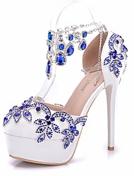 cheap -Women's PU(Polyurethane) Spring & Summer Sweet Wedding Shoes Platform Round Toe Rhinestone / Buckle / Tassel Blue