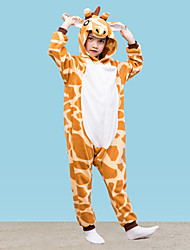 cheap -Kigurumi Pajamas Giraffe Onesie Pajamas Polar Fleece Yellow Cosplay For Boys and Girls Animal Sleepwear Cartoon Festival / Holiday Costumes