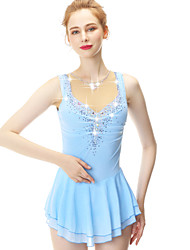 cheap -21Grams Figure Skating Dress Women's Girls' Ice Skating Dress Blue Spandex Stretch Yarn High Elasticity Competition Skating Wear Handmade Embossed Fashion Sleeveless Ice Skating Winter Sports Figure