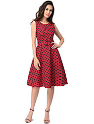 cheap -Audrey Hepburn Polka Dots Retro Vintage 1950s Dress Women's Costume Black / White / Red Vintage Cosplay Homecoming Sleeveless Knee Length