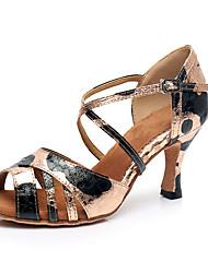 cheap -Women's Latin Shoes Heel Glitter Cuban Heel Black / Gold Buckle Ankle Strap Sparkling Shoes