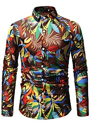 cheap -Men's Daily Beach Basic Cotton Shirt - Floral Print Spread Collar Blue / Long Sleeve / Spring / Fall