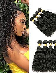 cheap -4 Bundles Brazilian Hair Kinky Curly Unprocessed Human Hair Headpiece Natural Color Hair Weaves / Hair Bulk Hair Care 8-28inch Natural Color Human Hair Weaves Odor Free Soft Best Quality Human Hair