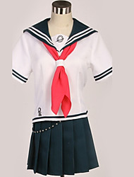 cheap -Inspired by Danganronpa Cosplay Anime Cosplay Costumes Japanese Cosplay Suits Black & White Contemporary Cravat Top Skirt For Men's Women's