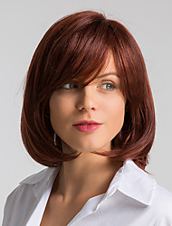 cheap -Human Hair Wig Medium Length Natural Straight Bob Red Fashionable Design Easy dressing Comfortable Capless Women's Dark Wine 12 inch / Natural Hairline / Natural Hairline